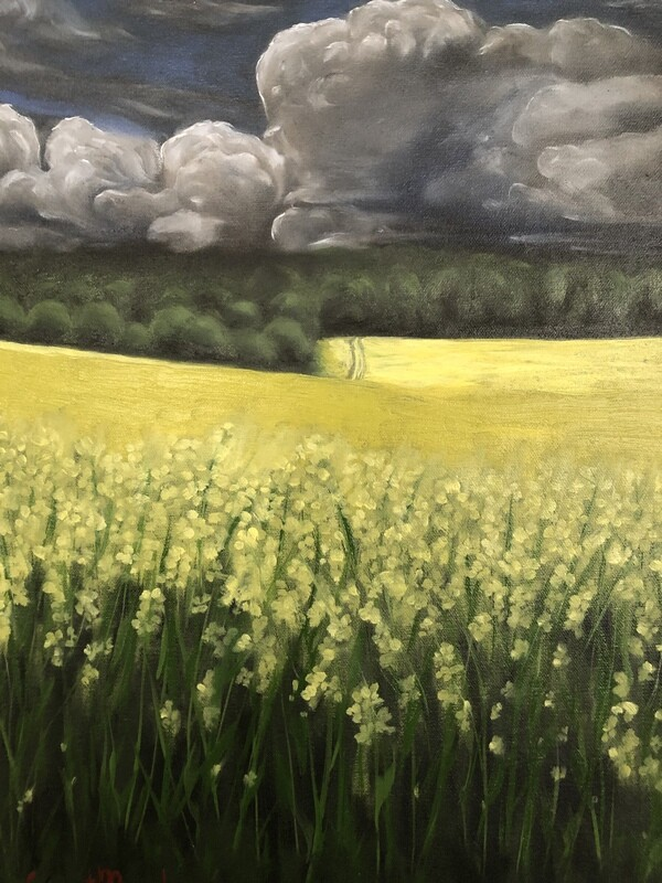 """A)  """"Mustard field"""" oil on canvas 18x14 inches"""