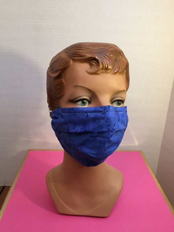 Deep Mottled Blue Face Mask