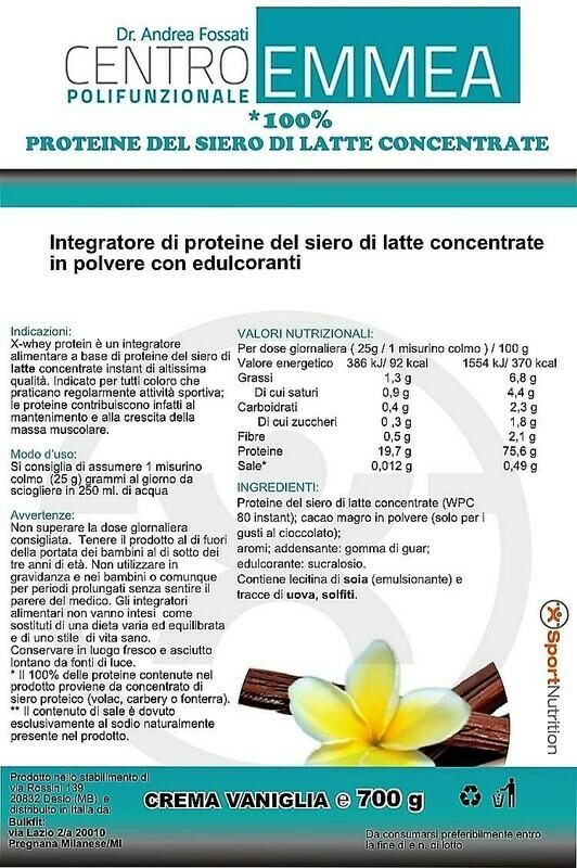 PROTEINE DEL LATTE CONCENTRATE 100% Vaniglia 700gr
