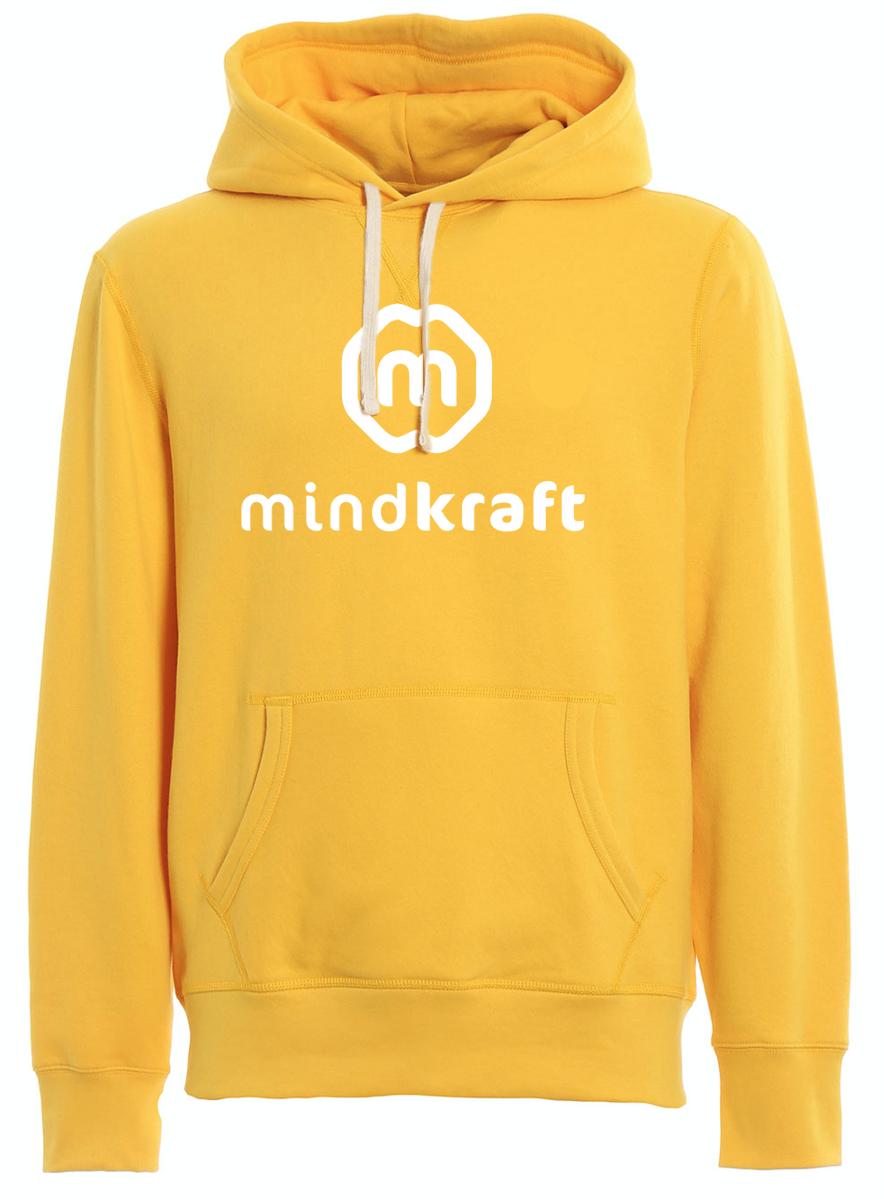 Hoodie gold met wit logo