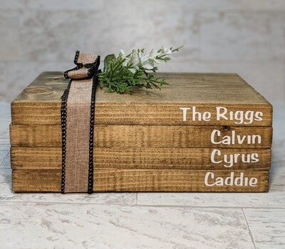 Personalized Wood Book Home Décor