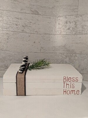 """Bless This Home"" Wood Book Décor"