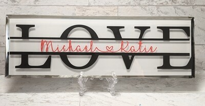 """Love"" Glass Plaque"