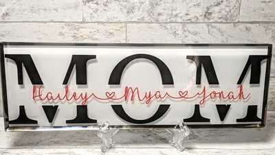 """Mom"" Glass Plaque"