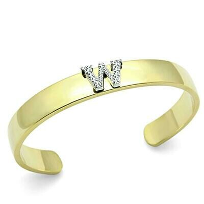 LO2592 - Gold+Rhodium White Metal Bangle with Top Grade Crystal  in Clear