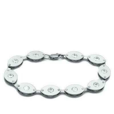 LO2011 - Matte Rhodium & Rhodium Brass Bracelet with AAA Grade CZ  in Clear