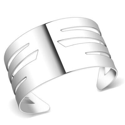 LO4659 - Matte Rhodium & Rhodium Stainless Steel Bangle with No Stone