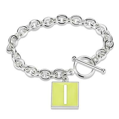 LO4636 - High-Polished Brass Bracelet with Epoxy  in Emerald
