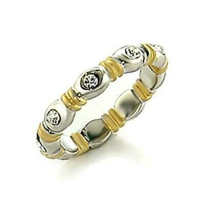 LO148 - Matte Gold & Rhodium Brass Toe Ring with Top Grade Crystal  in Clear