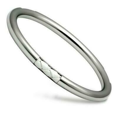 TK407 - High polished (no plating) Stainless Steel Bangle with No Stone