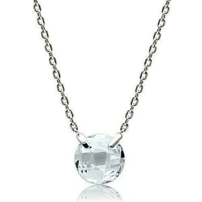 3W074 - Rhodium Brass Necklace with AAA Grade CZ  in Clear