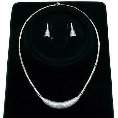 3W1245 - Rhodium Brass Jewelry Sets with AAA Grade CZ  in Clear