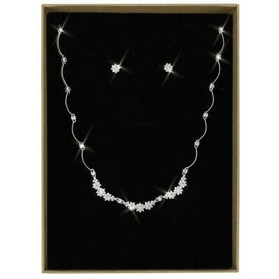 3W1424 - Rhodium Brass Jewelry Sets with AAA Grade CZ  in Clear