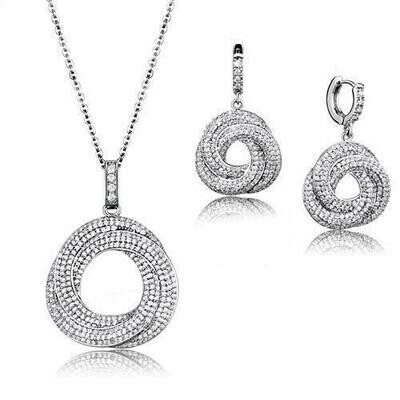 3W1318 - Rhodium Brass Jewelry Sets with AAA Grade CZ  in Clear