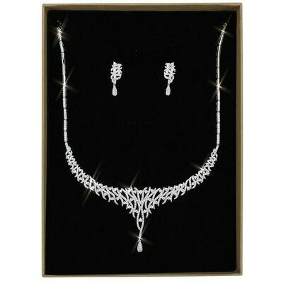3W1413 - Rhodium Brass Jewelry Sets with AAA Grade CZ  in Clear