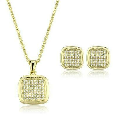 3W1269 - Gold Brass Jewelry Sets with AAA Grade CZ  in Clear