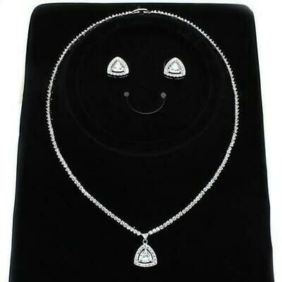 3W1244 - Rhodium Brass Jewelry Sets with AAA Grade CZ  in Clear