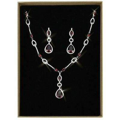 3W1423 - Rhodium Brass Jewelry Sets with Synthetic Synthetic Glass in Garnet