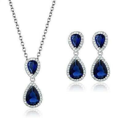 3W1264 - Rhodium Brass Jewelry Sets with Synthetic Synthetic Glass in Montana
