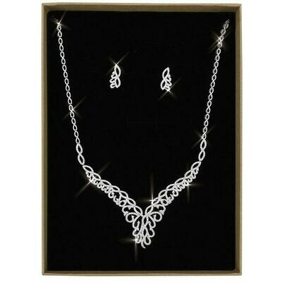 3W1414 - Rhodium Brass Jewelry Sets with AAA Grade CZ  in Clear