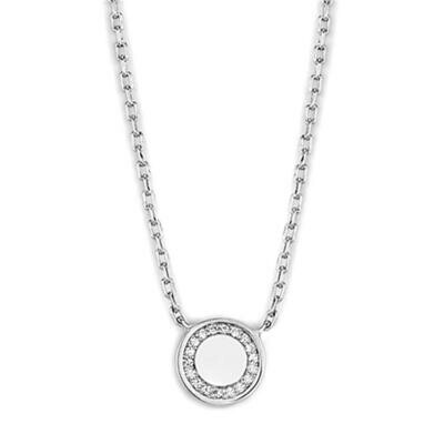 3W447 - Rhodium Brass Necklace with AAA Grade CZ  in Clear