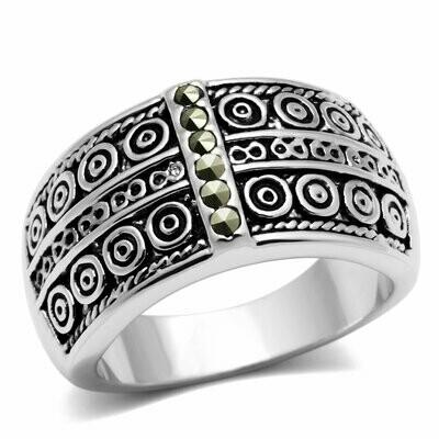 3W239 - Rhodium Brass Ring with Semi-Precious Marcasite in Black Diamond