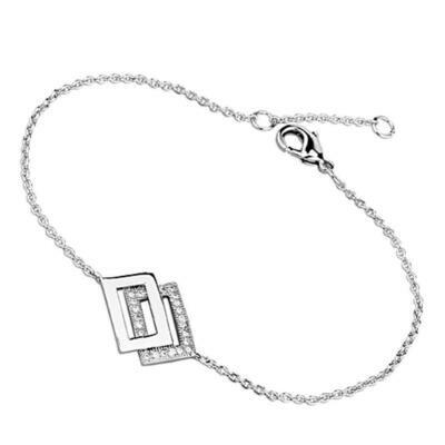3W401 - Rhodium Brass Bracelet with AAA Grade CZ  in Clear