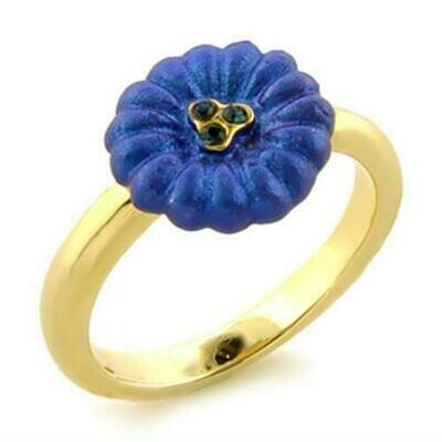 LO091 - Gold White Metal Ring with Top Grade Crystal  in Montana