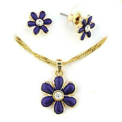 LO266 - Gold White Metal Jewelry Sets with Top Grade Crystal  in Clear