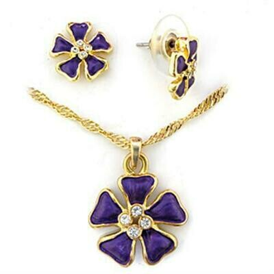 LO269 - Gold White Metal Jewelry Sets with Top Grade Crystal  in Clear