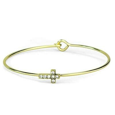 LO3264 - Gold Brass Bangle with Top Grade Crystal  in Clear