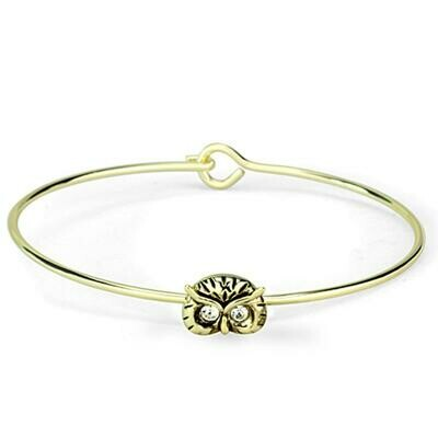 LO3275 - Gold Brass Bangle with Top Grade Crystal  in Clear