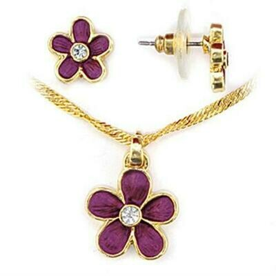LO270 - Gold White Metal Jewelry Sets with Top Grade Crystal  in Clear