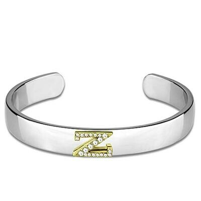 LO3636 - Reverse Two-Tone White Metal Bangle with Top Grade Crystal  in Clear