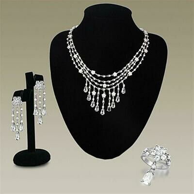 LO3076 - Rhodium Brass Jewelry Sets with AAA Grade CZ  in Clear