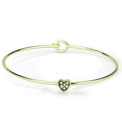 LO3263 - Gold Brass Bangle with Top Grade Crystal  in Clear