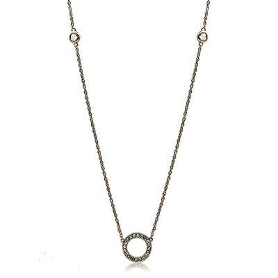 LO3846 - Rose Gold Brass Necklace with AAA Grade CZ  in Clear