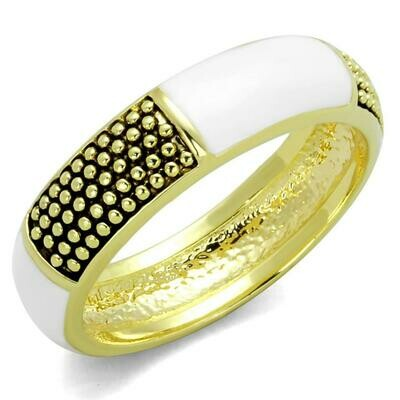 LO3548 - Gold Brass Ring with Epoxy  in White