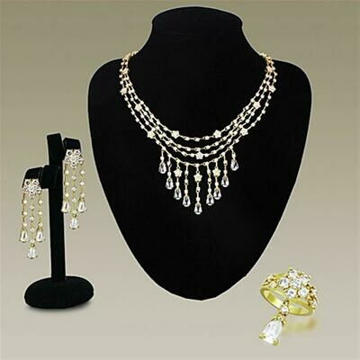 LO3077 - Gold Brass Jewelry Sets with AAA Grade CZ  in Clear
