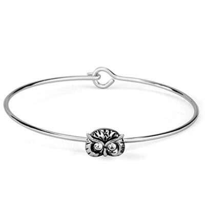 LO3441 - Rhodium Brass Bangle with Top Grade Crystal  in Clear