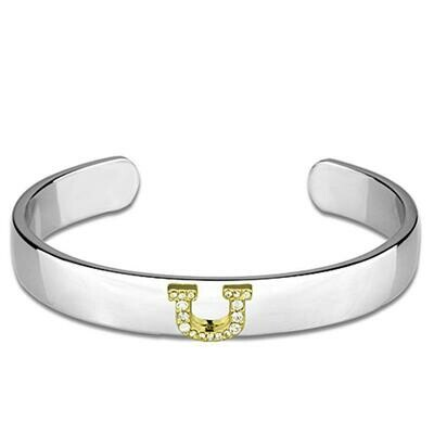 LO3631 - Reverse Two-Tone White Metal Bangle with Top Grade Crystal  in Clear