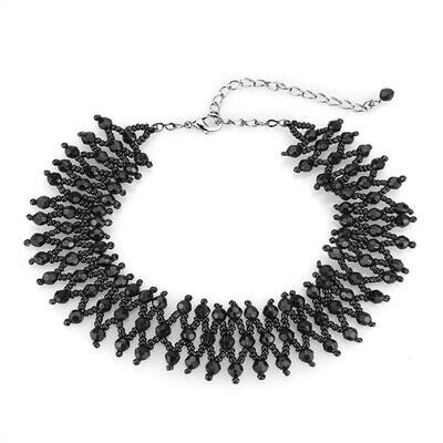 LO4715 - Rhodium Brass Necklace with Synthetic Synthetic Glass in Jet