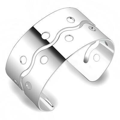 LO4660 - Matte Rhodium & Rhodium Stainless Steel Bangle with No Stone