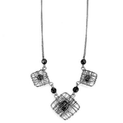 LO4727 - Ruthenium White Metal Necklace with Synthetic Synthetic Glass in Jet