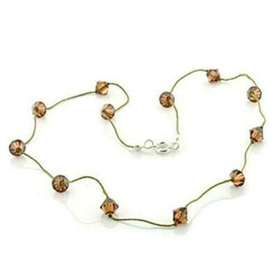 LO738 -  Brass Necklace with Top Grade Crystal  in Smoky Topaz