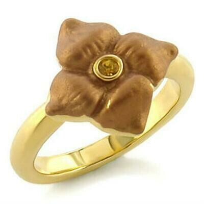 LO527 - Gold White Metal Ring with Top Grade Crystal  in Topaz