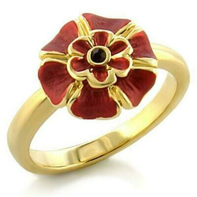 LO510 - Gold White Metal Ring with Top Grade Crystal  in Siam