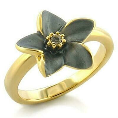LO520 - Gold White Metal Ring with Top Grade Crystal  in Black Diamond