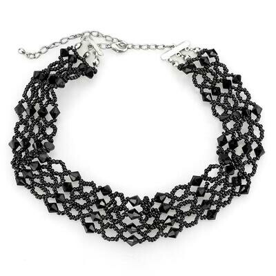 LO4718 - Rhodium Brass Necklace with Synthetic Synthetic Glass in Jet