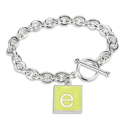 LO4649 - High-Polished Brass Bracelet with Epoxy  in Emerald